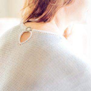 grecian elegance knit sweater back neckline