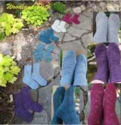 woodland path socks by linda choo