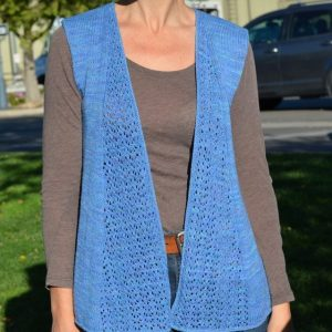 Dantel Vest knitting pattern front view open