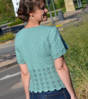 mckenna short sleeve sweater knitting pattern back view
