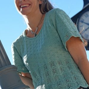 mckenna short sleeve sweater knitting pattern front view 2